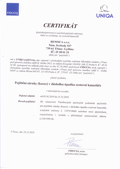 Certifikát pojištění
